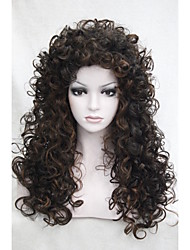 "cheap -Sexy Dark Brown mix Medium Auburn Curly 22"" Long Synthetic Hair Full Women's Daily Wig 5377 4-30"