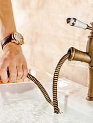 Antique Brass Copper Material Ceramic Handle Cold and Hot Water Tap Pull Out Spout Bathroom Bain Faucet