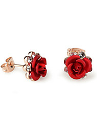 HKTC Red Flower Stud Earrings Rose Lover 18k Rose Gold Plated with Austrian Crystal Jewelry