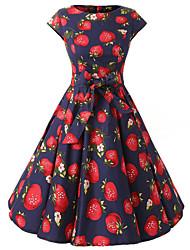 mangas das mulheres reais morangos Blue Print vestido floral, tampão do vintage mangas anos 50 rockabilly balançar vestido