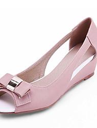 DamenBüro / Kleid-Kunstleder-Keilabsatz-Wedges / Vorne offener Schuh-Rosa / Lila / Beige