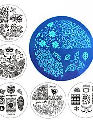 Недорогие -новые конструкции искусства ногтя плиты штемпелюя комплект круглой нержавеющей стали поделки лак для ногтей маникюр печати шаблон ногтей