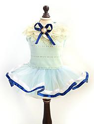 abordables -Chat / Chien Robe Jaune / Bleu Vêtements pour Chien Eté / Printemps/Automne Nœud papillon Mode