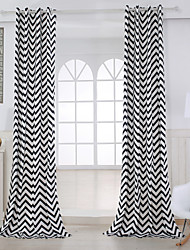 Two Panels Curtain Modern , Stripe Living Room Cotton Material Curtains Drapes Home Decoration For Window