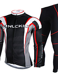 cheap -Nuckily Cycling Jersey with Tights Men's Long Sleeves Bike Clothing Suits Waterproof Thermal / Warm Rain-Proof Reflective Strips