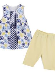 cheap -Girls' Clothing Set, Cotton Spring Summer Short Sleeves Floral Orange Blue
