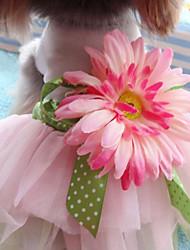 abordables -Chien Robe Vêtements pour Chien Fleur Rose Térylène Costume Pour les animaux domestiques Femme Mode Mariage