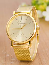 cheap -Women's Golden Mesh Belt Fashion Grid Scale Grid scale Quartz Watch