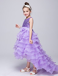 Girl's Blue / Purple Dress,Bow Polyester Summer