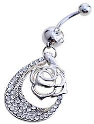 economico -Da donna Gioielli per corpo Piercing per ombelico Argento sterling imitazione diamante Bianco Gioielli Quotidiano Casual 1 pezzo