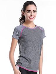 baratos -Mulheres Camiseta Esportivo Simples / Activo Verão,Color Block Cinza Náilon / Elastano Decote Redondo Manga Curta Fina