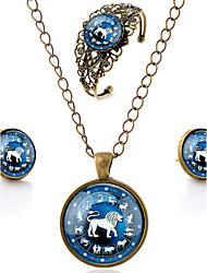 Lureme® Time Gem The Zodiac Series Vintage Leo Pendant Necklace Stud Earrings Hollow Flower Bangle Jewelry Sets