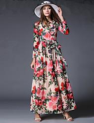 economico -Chiffon Vestito Da donna-Vacanze Vintage / Boho Fantasia floreale Rotonda Maxi Manica lunga Rosa Poliestere Primavera A vita medio-alta