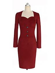 Sexy/Přiléhavé na tělo/Párty - Šaty Dlouhé rukávy - ŽENY - Dresses ( Směs bavlny )
