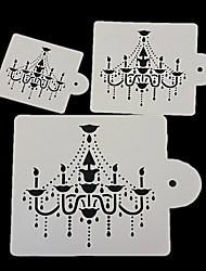 cheap -3Pcs Chandelier Cake Stencil Design Fondant Cake Decorating Spray Printing Mold Kitchen Baking Tool