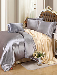 Duvet Cover Sets Solid 4 Piece Faux Silk Reactive Print Faux Silk 4pcs (1 Duvet Cover, 1 Flat Sheet, 2 Shams)