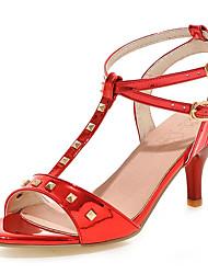 preiswerte -Damen Schuhe Kunstleder Frühling Sommer Fersenriemen Stöckelabsatz Niete für Büro & Karriere Kleid Silber Grau Rot Rosa Golden
