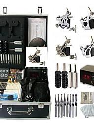 Недорогие -BaseKey Профессиональный комплект для татуировки Татуировочная машина - 4 pcs татуировки машины LCD питания 4 х Стальная тату-машинка для контура и заливки / Чехол в комплекте