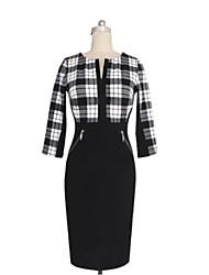 cheap -Women's Chic & Modern Sheath Dress - Plaid Fashion, Modern Style