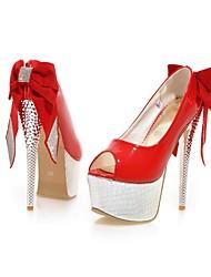 Mulheres Sapatos Couro Ecológico Primavera Verão Conforto Saltos Caminhada Salto Agulha Plataforma Peep Toe Laço Gliter com Brilho para