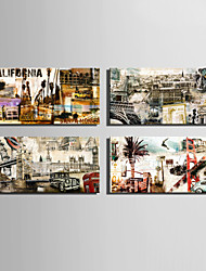 E-HOME® Stretched Canvas Art European Famous Architectural Retro Elements Decoration Painting  Set of 4