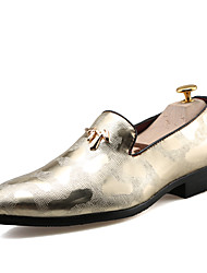 cheap -Men's Shoes Leatherette Spring / Fall Comfort Loafers & Slip-Ons Black / Silver / Golden / Wedding / Party & Evening / Dress Loafers