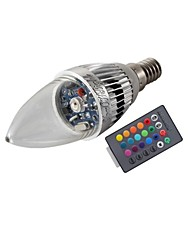 3W E14 LED Candle Lights T 1 High Power LED 200-250 lm RGB RGB K Remote-Controlled Decorative AC 85-265 V
