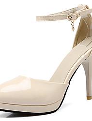 お買い得  -女性用 靴 エナメル レザーレット 春 夏 オルセー&ツーピース スティレットヒール のために オフィス&キャリア ドレスシューズ ブラック ベージュ レッド ピンク