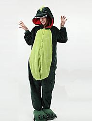 cheap -Kigurumi Pajamas Dinosaur Onesie Pajamas Costume Polar Fleece Green Cosplay For Adults' Animal Sleepwear Cartoon Halloween Festival /