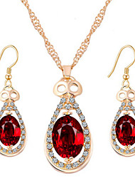 Women's Jewelry Set Necklace/Earrings Crystal Wedding Party Daily Crystal Rhinestone Rose Gold Plated Alloy Drop Earrings Necklaces