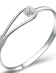 cheap -Women's Bangles / Cuff Bracelet - Sterling Silver, Silver Plated Flower Simple Style, Elegant, Bridal Bracelet Silver For Christmas Gifts / Wedding / Party