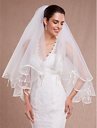 cheap -Two-tier Ribbon Edge Scalloped Edge Wedding Veil Elbow Veils With Ribbon Pearls Tulle