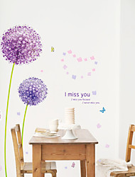 cheap -Purple Dandelion Wall Decals Romance / Florals / Landscape Wall Stickers Plane Wall Stickers,pvc 50*70CM