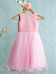 Ball Gown Knee Length Flower Girl Dress - Lace Sleeveless Jewel Neck by LAN TING BRIDE®