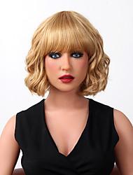 cheap -Human Hair Capless Wigs Human Hair Body Wave Bob Haircut With Bangs Middle Part Short Capless Wig Women's