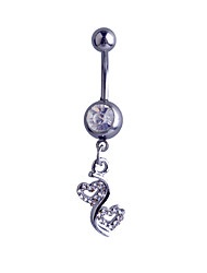 Cremation jewelry Sterling Silver Double Peach Heart Zircon / Gem Navel & Bell Button Rings Party