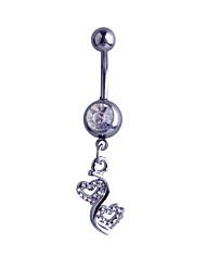 economico -Da donna Gioielli per corpo Piercing per ombelico Argento sterling imitazione diamante A forma di cuore Argento Gioielli Quotidiano Casual