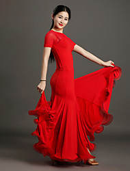 High-quality Viscose and Tulle with Pleated Ballroom Dance Outfits for Women's Performance(More Colors)