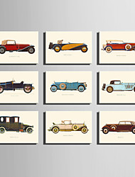 cheap -E-HOME® Stretched Canvas Art Retro Cars Series Decoration Painting MINI SIZE One Pcs