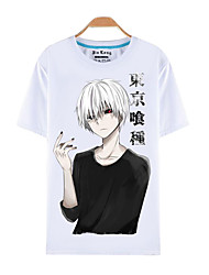 cheap -Inspired by Tokyo Ghoul Ken Kaneki Anime Cosplay Costumes Cosplay T-shirt Print Short Sleeves Top T-shirt For Male