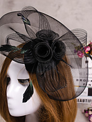 cheap -Flower Feather Veil Fascinator Hat Hair Jewelry for Wedding Party