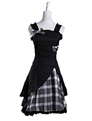 cheap -One-Piece/Dress Sweet Lolita Lolita Cosplay Lolita Dress White / Black Plaid/Check Sleeveless Short Length Dress For Women Cotton