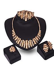 abordables -Conjunto de joyas - Chapado en oro 18K, Zirconia Cúbica Importante, Gemelo, Vintage Incluir Dorado Para Fiesta / Pendientes / Collare