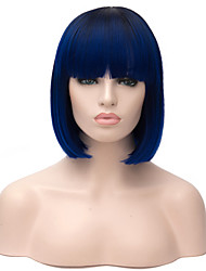 cheap -Synthetic Wig Straight Bob Haircut Synthetic Hair Ombre Hair Blue Wig Women's Short Capless