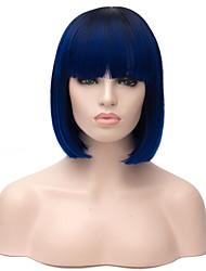abordables -Pelucas sintéticas Recto Corte Bob Pelo sintético Pelo Ombre Azul Peluca Mujer Corta Sin Tapa
