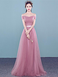 cheap -Prom Formal Evening Dress - Lace-up A-line Off-the-shoulder Floor-length Tulle with Beading Side Draping