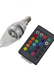 cheap -YouOKLight 3W 200-250 lm E14 LED Candle Lights C35 1 leds High Power LED Decorative Remote-Controlled RGB AC 110-130V AC 220-240V