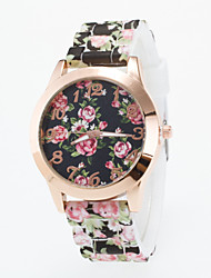cheap -Women's Fashion Watch Casual Watch Quartz Casual Watch Silicone Band Flower Multi-Colored