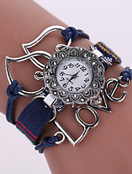 Women's Quartz Analog White Case Love Leather Band Bracelet Wrist Fashion Watch Jewelry Cool Watches Unique Watches