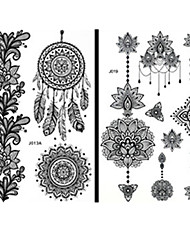 cheap -Non Toxic / Pattern / Large Size Face / Hand / Arm Temporary Tattoos 15 pcs Totem Series / Flower Series Body Arts / Tribal / Lower Back / Waterproof / Lace